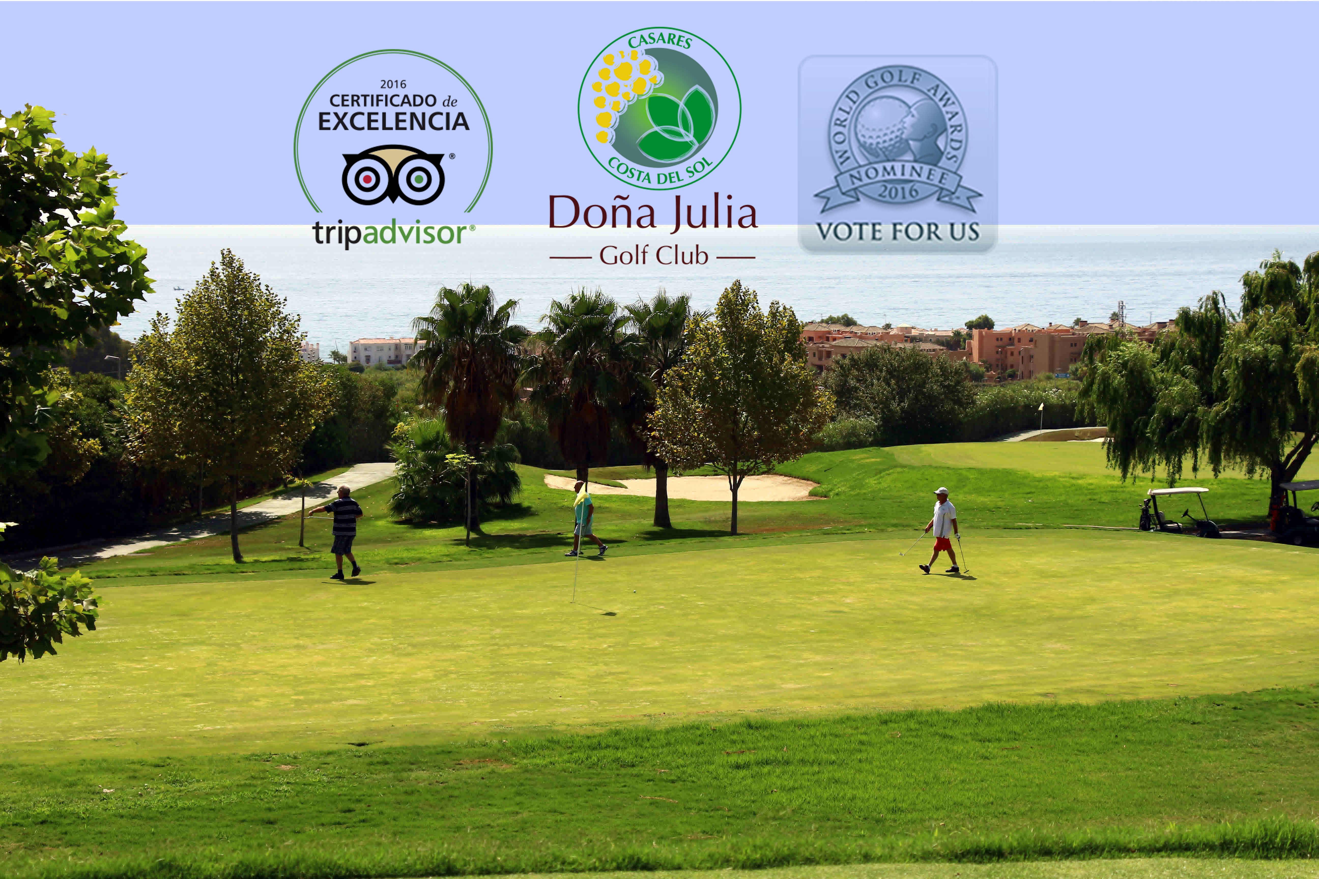 """Tripadvisor brinda en el 2016 a Doña Julia Golf Club con el """"Certificado de Excelencia"""" y World Golf Awards nomina como Mejor Campo de Golf de España"""