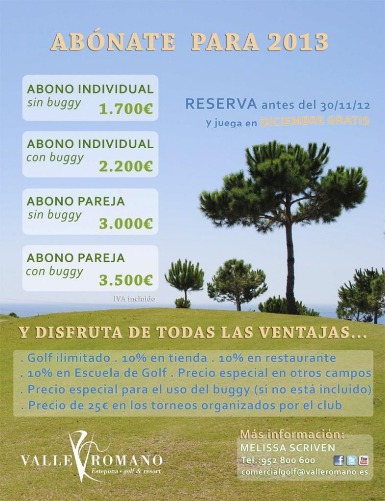 Precios de abonos anuales para jugar al golf en Valle Romano, Estepona
