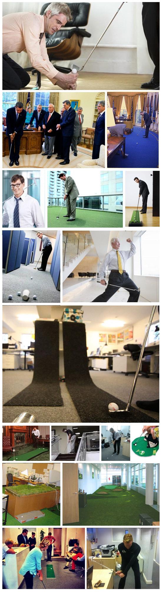 ejecutivos jugando al golf en la oficina