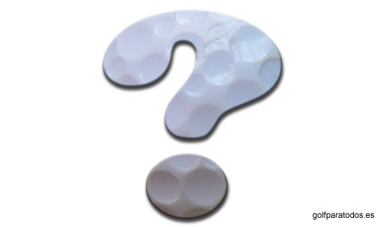 Signo de interrogación con la textura de una bola de golf