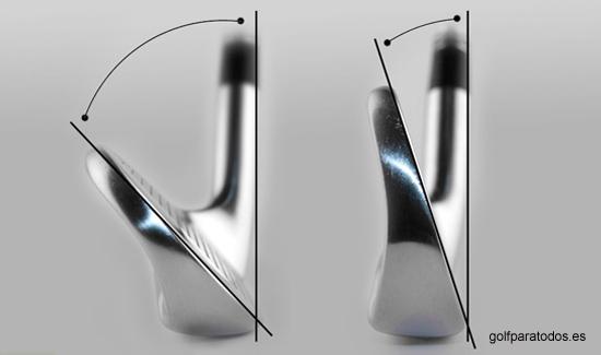 El ángulo que forma la cara del palo con respecto a la varilla se denomina loft